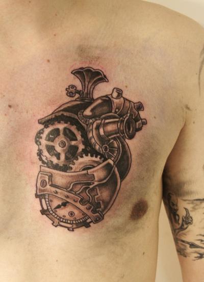 Violoncello Steampunk Tattoo Biomechanical Tattoo Gear Tattoo