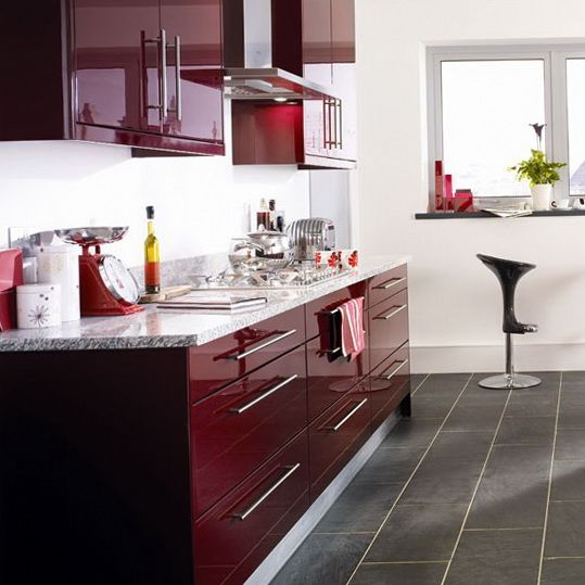 ... Kitchen Cabinets - Modern Kitchen With Maroon Color - D&S Furniture