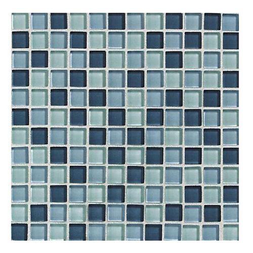Zoomed American Olean 12 X 12 Delfino Ocean Blues Glass Wall