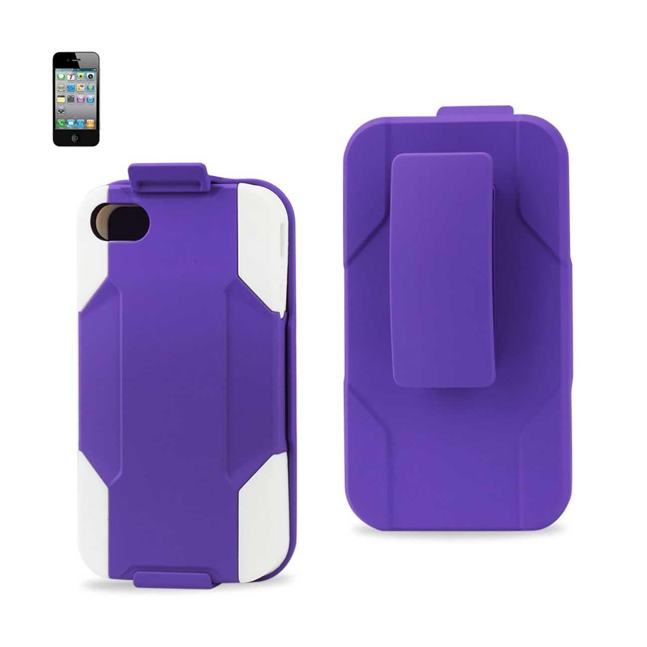Reiko Iphone 4- 4g Hybrid Heavy Duty Holster Combo Case In White Purple