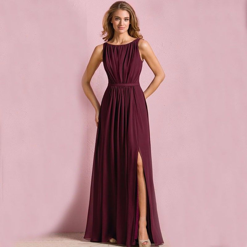 Vestido De Fiesta Burgundy Color Plus Size A Line Navy Blue Chiffon ...