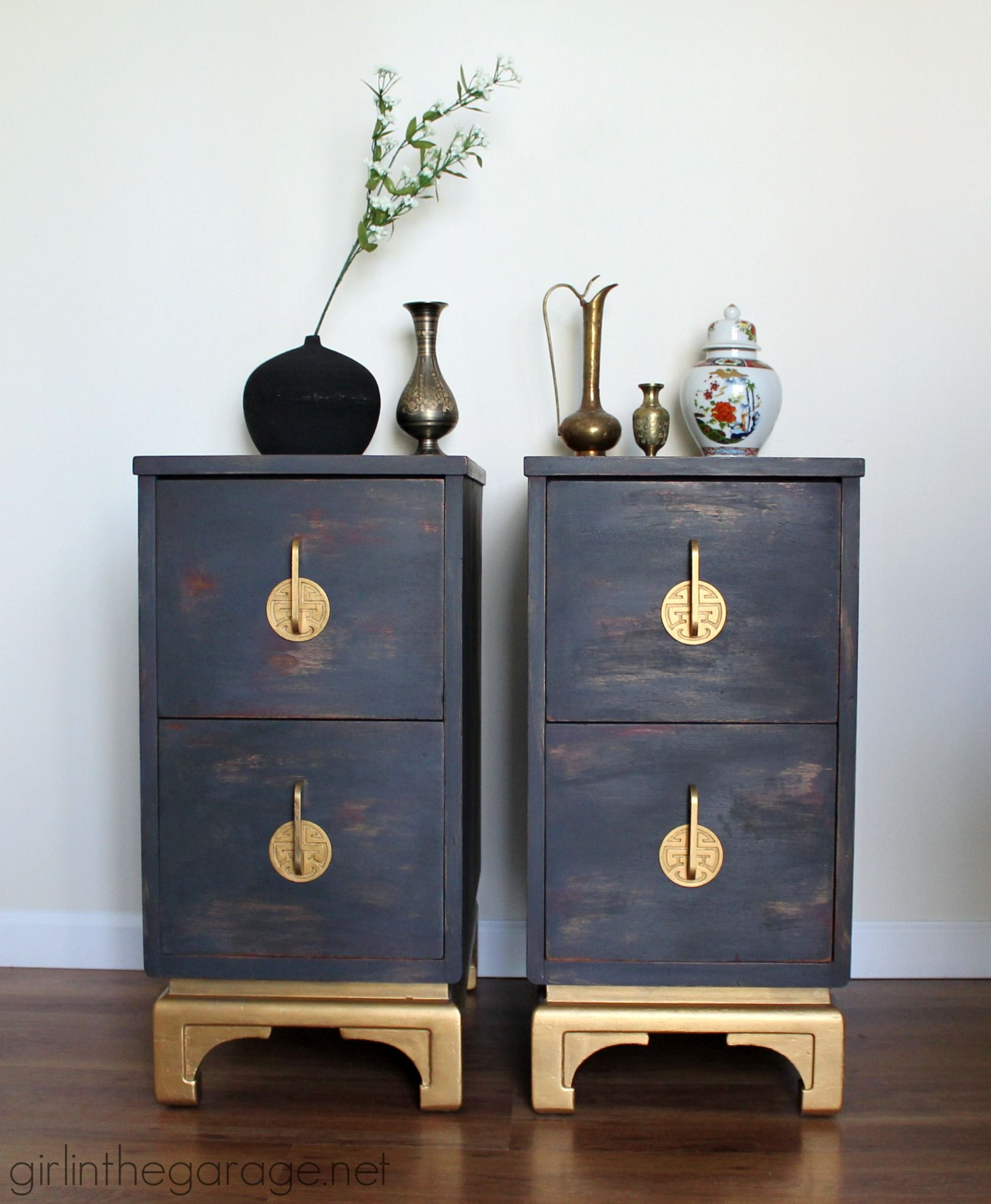 Lovely Antique Oriental Nightstands Get A Makeover With Chalk Paint And Metallic Gold  Paint. Themed Furniture