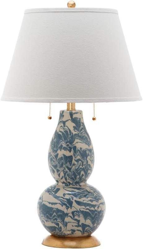 Safavieh color swirls 1 light accent table lamp with empire cotton shad blue and white lamps table lamps accent lamps