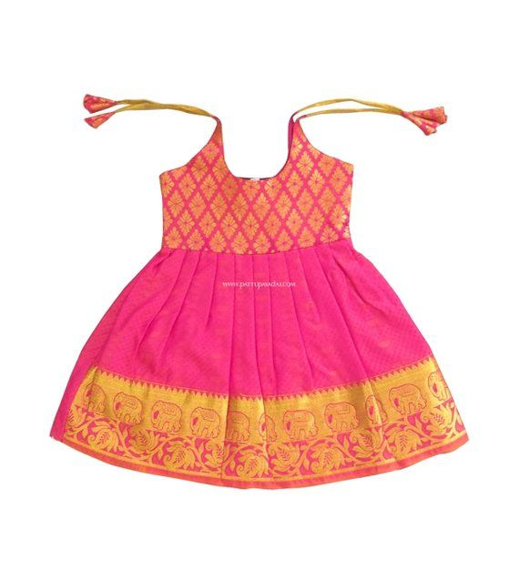 3ca87a0e95e070 Pattu Pavadai Just Born Baby Silk Frock Pink and Golden for Indian Kids - 6  Months