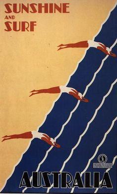 TX78 Vintage Australia Sunshine /& Surf Australian Travel Poster A1//A2//A3//A4