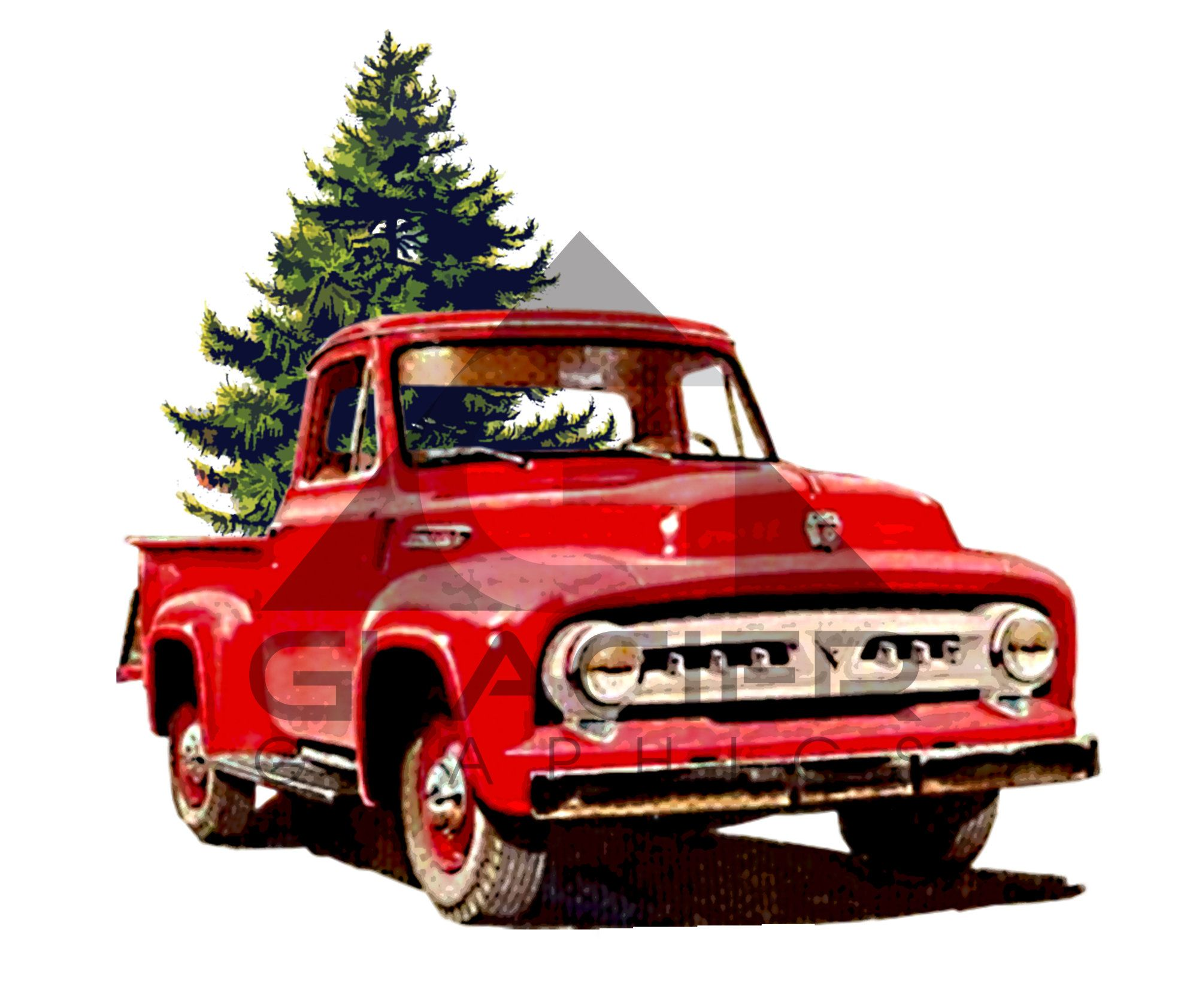 Vintage Red Ford Truck Christmas Tree Farm Png File Etsy Vintage Truck Christmas Christmas Truck Big Christmas Tree