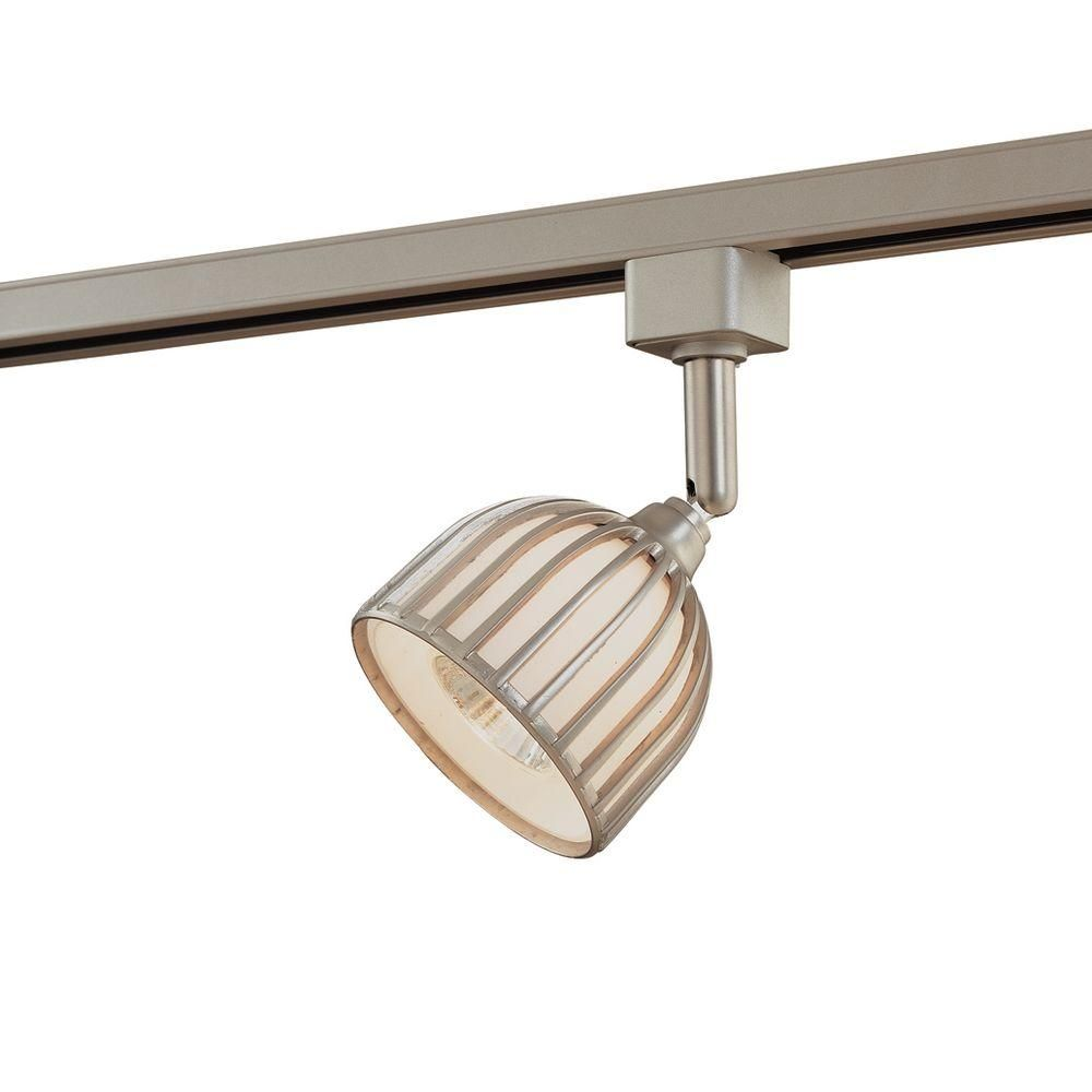Hampton Bay Linear Track Fixture Brushed Steel Metal Glass Shade Ec4181ba At The Home