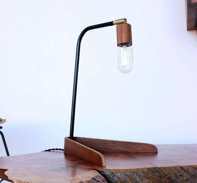 Bent plywood desk lamp with Teak veneered socket