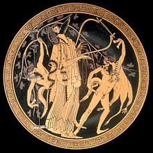 Greek mythology - Dionysus with satyrs. Interior of a cup painted by the Brygos Painter, Cabinet des Médailles.
