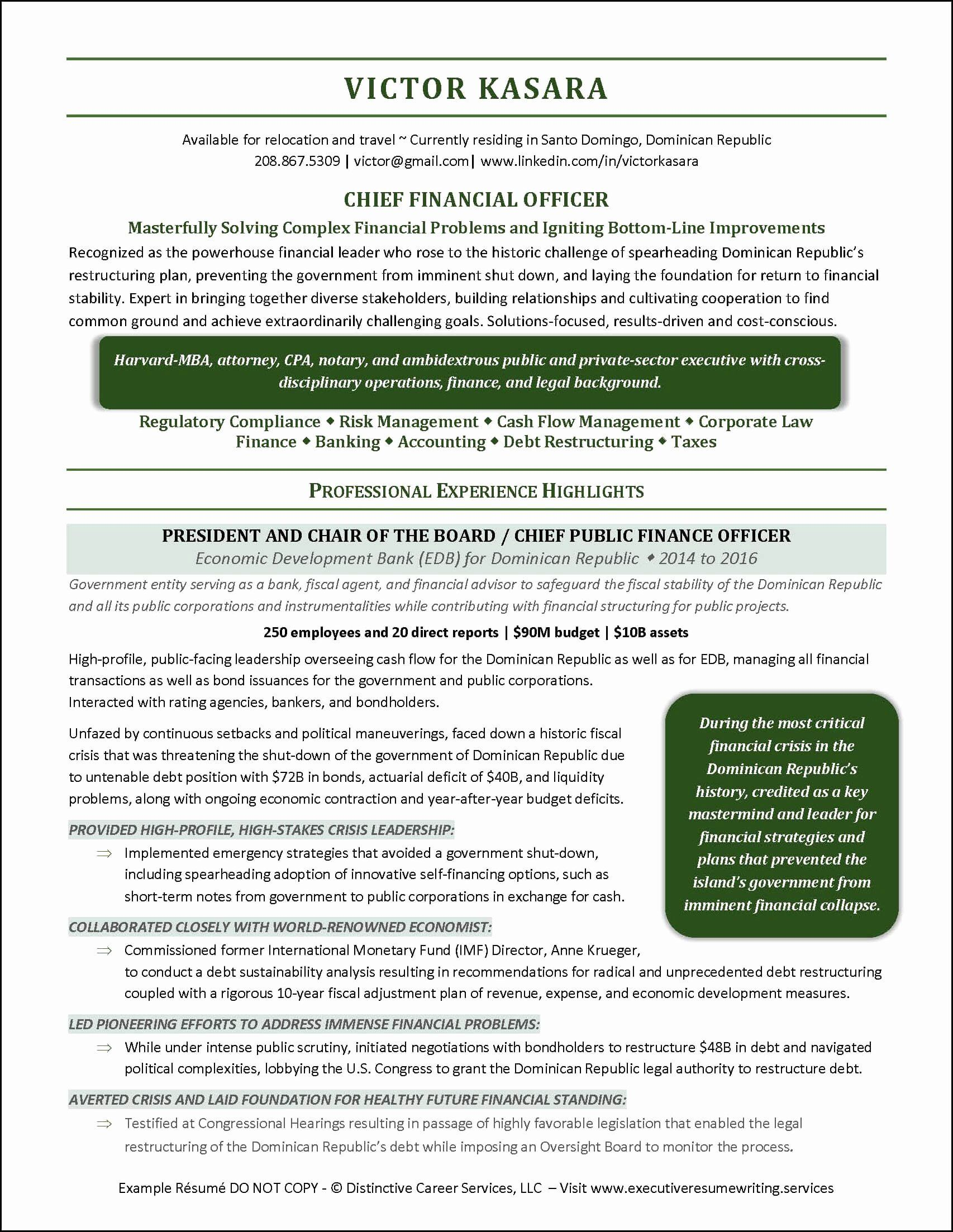 Chief Financial Officer Resume Example Awesome Chief Financial Ficer Resume Page 1 Executive Resume Resume Resume Examples