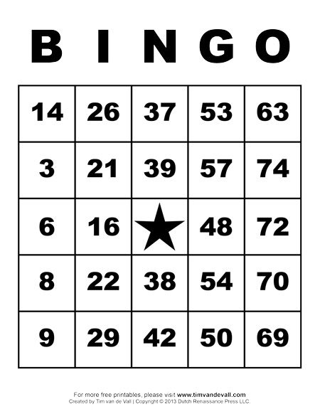 Free Printable Bingo Cards  Free Printable Bingo Cards Bingo