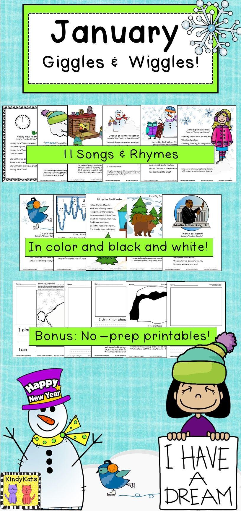 January: Songs & Rhymes | Teacher pay teachers, Teacher and Kindergarten