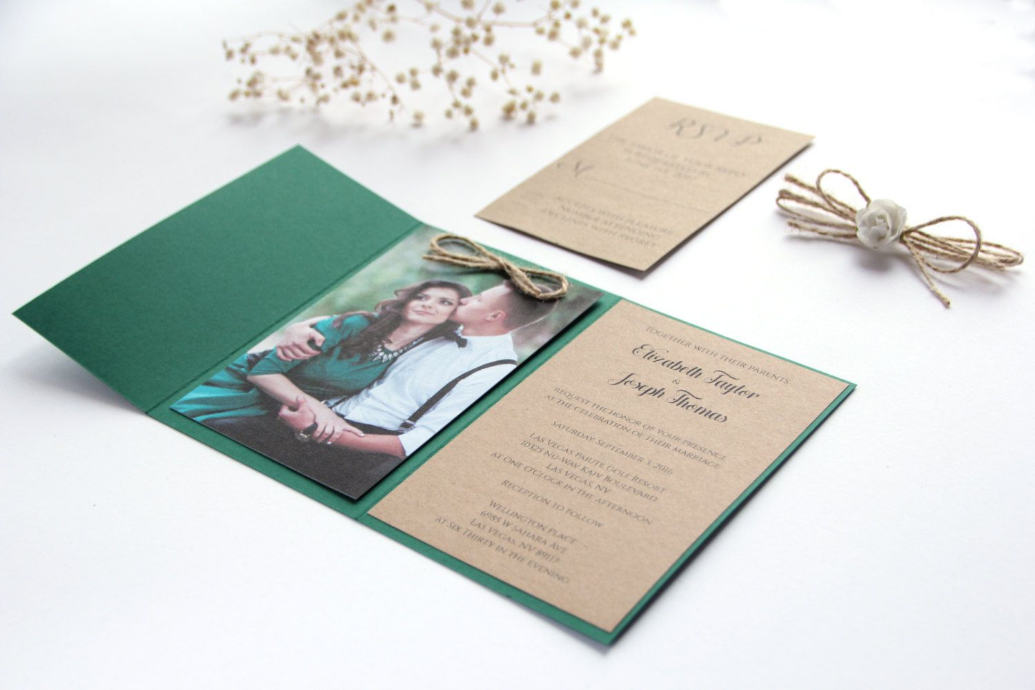 Forest Green Wedding Invitation Hunter Rustic With Photography
