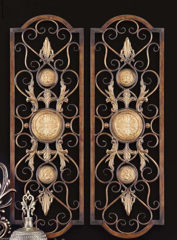 Set 2 Scroll Wall Decor Wrought Iron Metal Grille Panel Tuscan Art ...