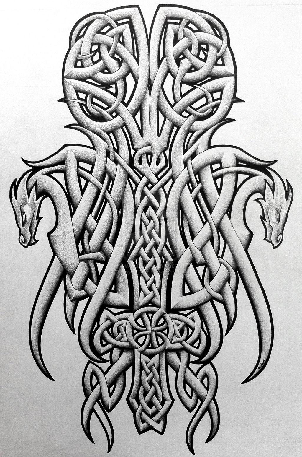 fe79424afd100 Celtic dragons and cross by Tattoo-Design.deviantart.com on @DeviantArt