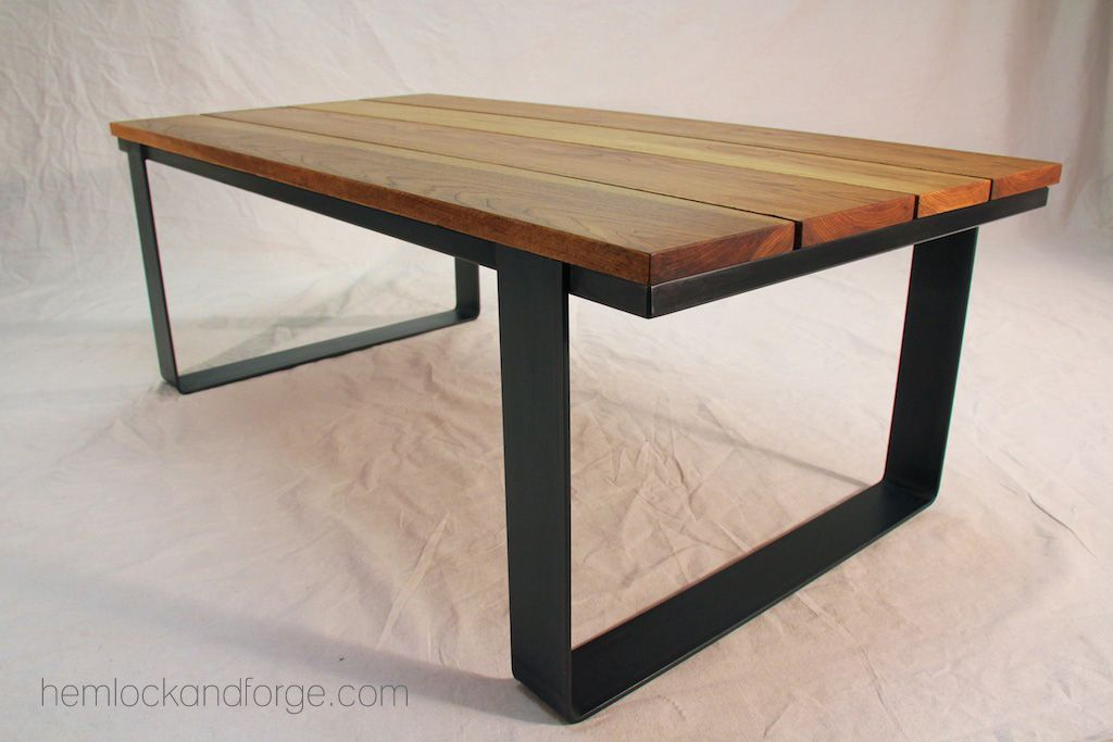 Coffee Table. Industrial Rustic. Black Oxide Patina Steel Frame. Hickory  Top. Handmade