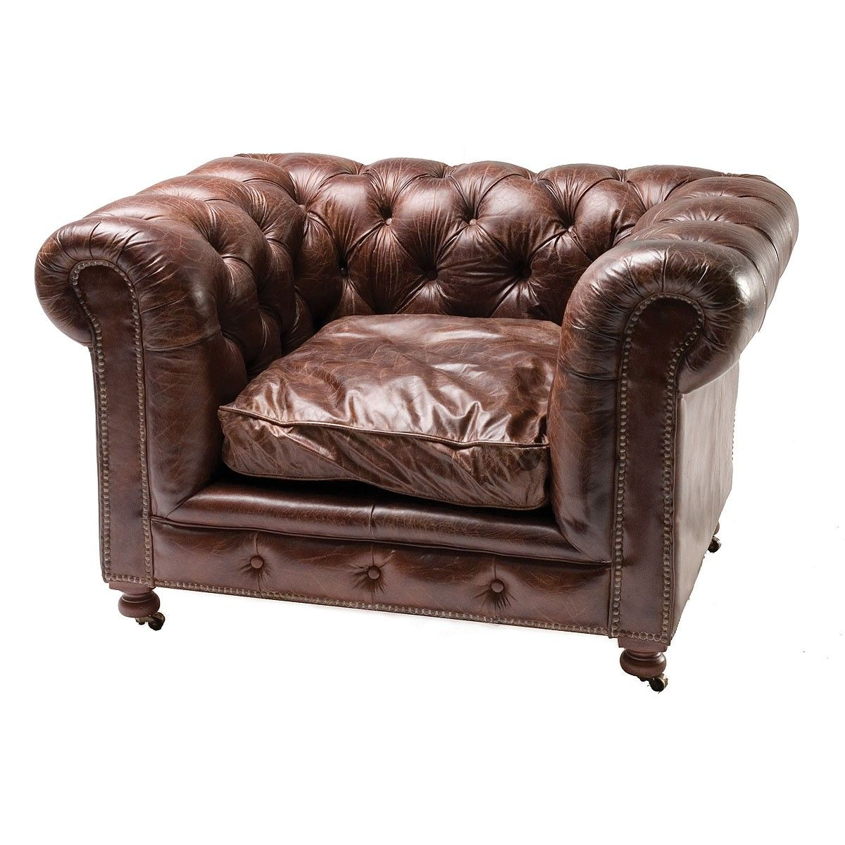 Conrad Vintage Cigar Leather Chesterfield Armchair