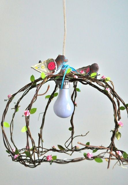 bird nest cage pendent lamp