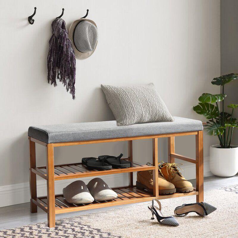 Upholstered Organizer 6 Pair Shoe Storage Bench In 2021 Bench With Shoe Storage Shoe Rack Bench Bench With Storage
