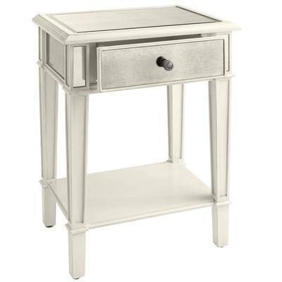 Hayworth Mirrored Antique White Nightstand With Images Mirrored Nightstand White Nightstand Elegant Bedroom