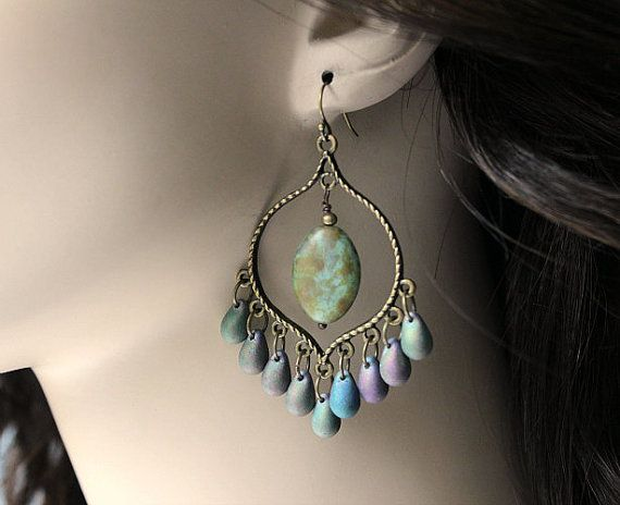 Iris Glass Chandelier Earrings, Green Purple Bohemian Hoops, Large Boho Dangles,Boho Chic Jewelry, Gypsy Jewelry on Etsy, $20.00