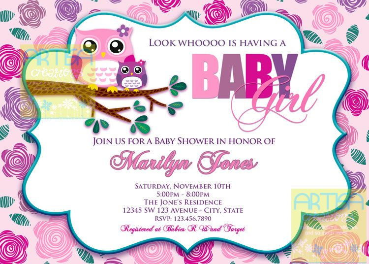 Pink Owl Baby Shower Invitation Owl Baby Girl by artisacreations - baby shower templates word