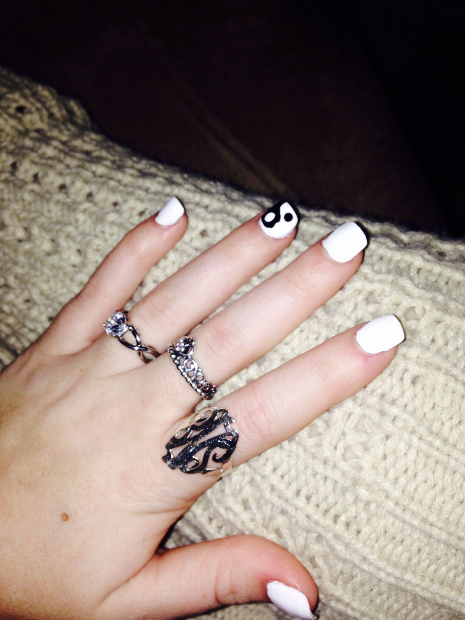 Black and white Ying yang acrylic square nails, diamond infinity ...