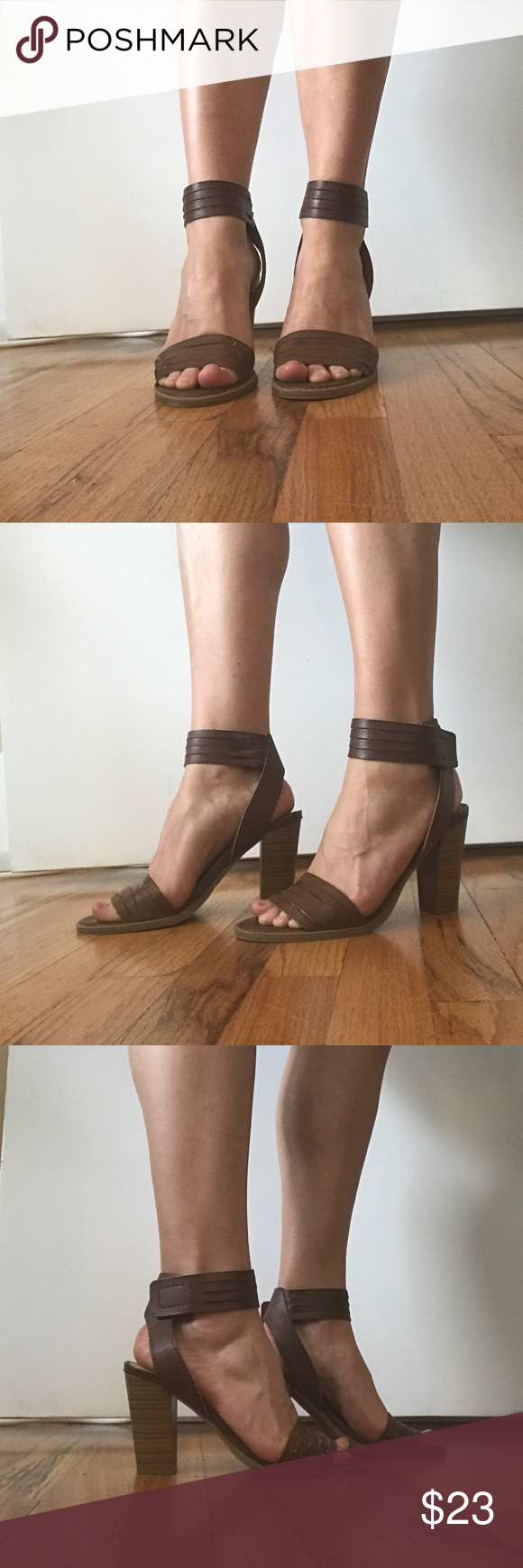 Report Strappy Brown Heel Sandals, Size 8 Super cute and very comfortable size 8 Report Heeled Sandals! These shoes are in great shape and have tons of wear left in them! They looks like free People heels! Also, super easy to get on and off with a Velcro strap, it's completely hidden though, no one will ever know. 😍 Report Shoes Heels