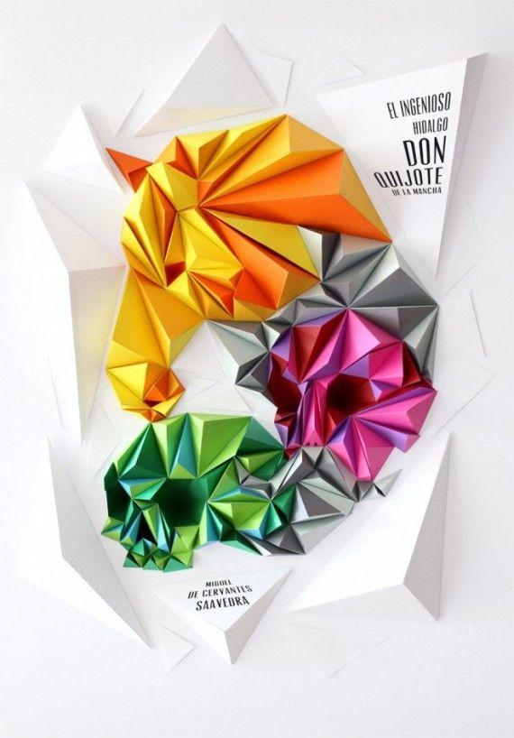 Ingenioso hidalgo. Folded origami paper poster design