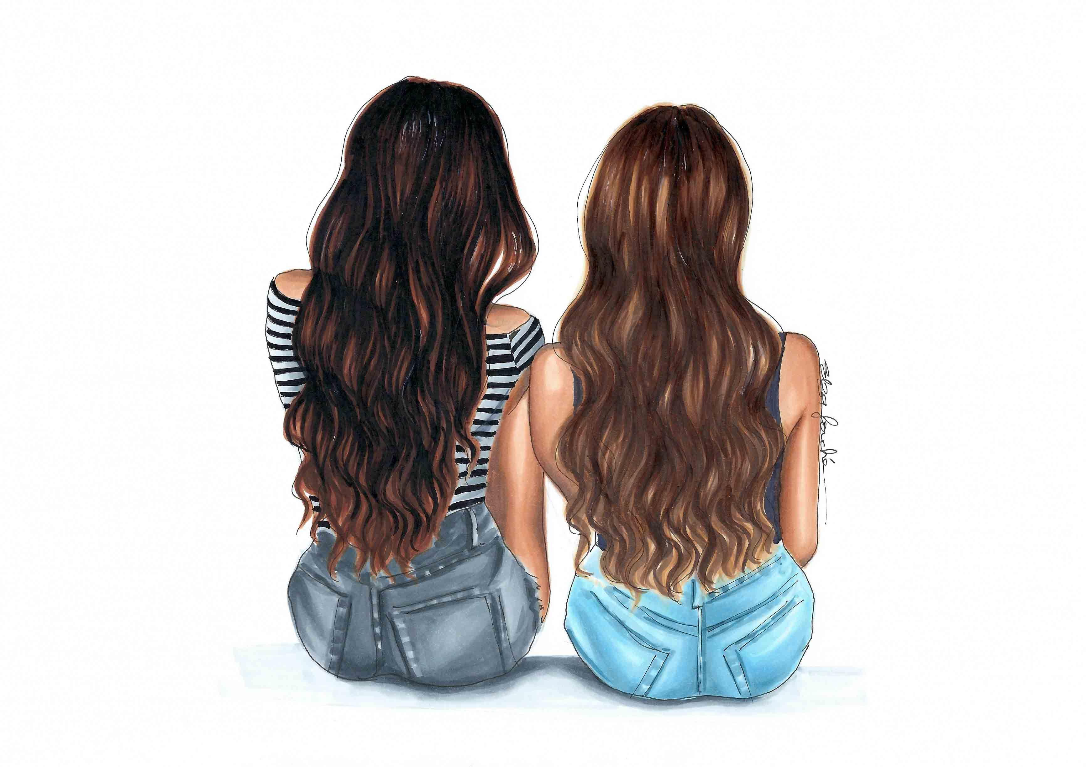 Elzafoucheartist Best Friend Drawings Drawings Of Friends Friends Illustration
