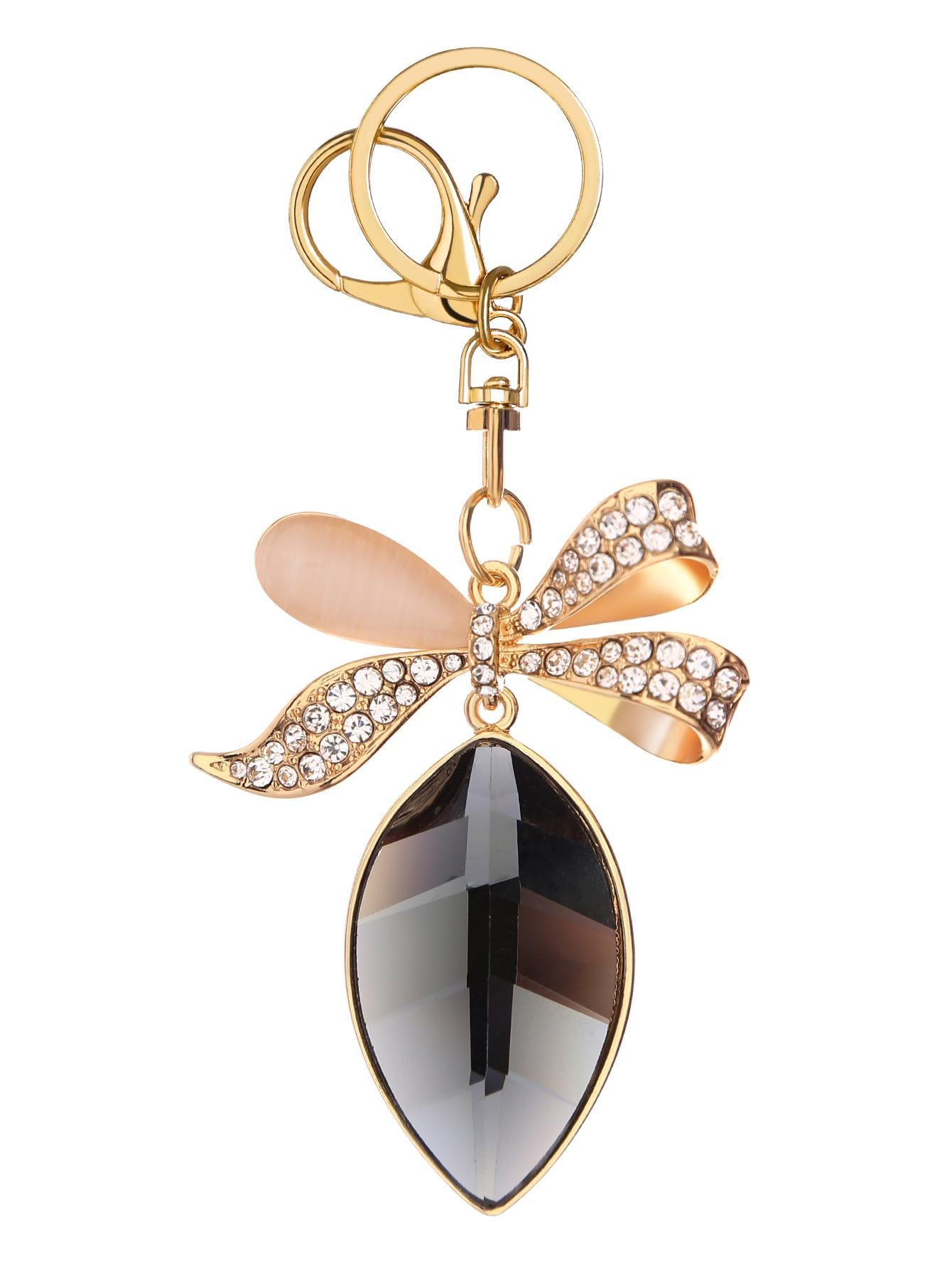 77b16b02cb SheIn - SheIn Gold Rhinestone Encrusted Bow Keychain - AdoreWe.com ...