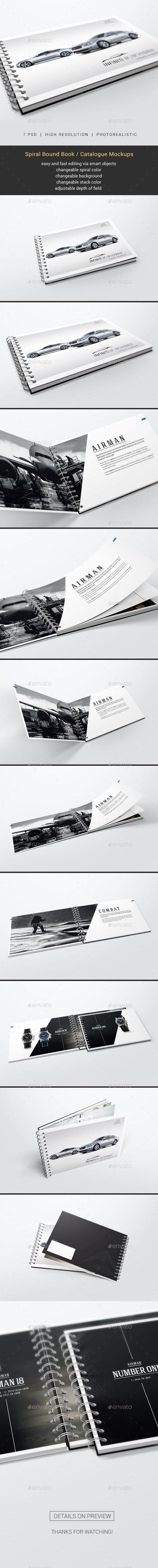 Spiral Bound Book / Catalogue Mockups by StreetD Spiral