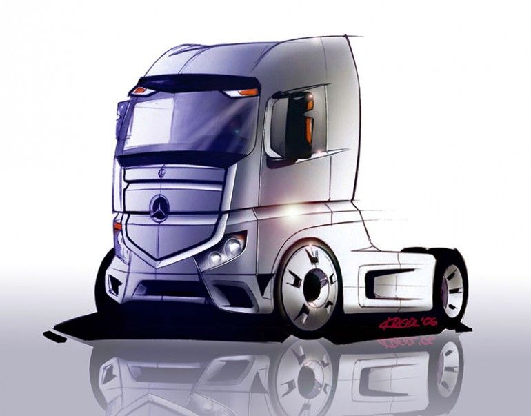 Mercedes Actros Tractor Initial Concept Sketch Trucks And Buses