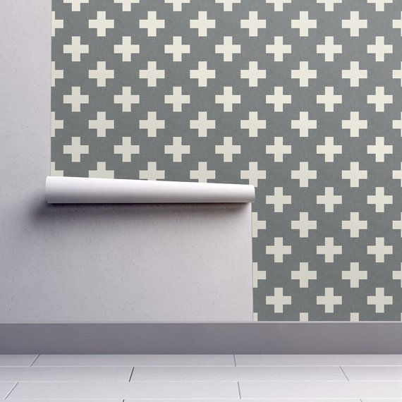 Grey Wallpaper Plus One Linen White By Holli Zollinger Etsy Grey Wallpaper Self Adhesive Wallpaper Peel And Stick Wallpaper