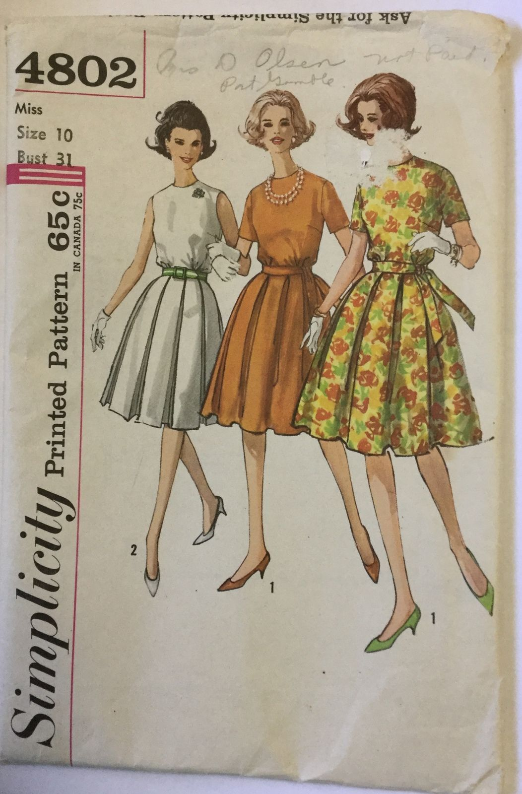 Pin By Roberta Westfal On Misses Vintage Clothing Patterns 1969 Prior At Jeanny S New To You Bonanza Com Dress Sewing Patterns Box Pleat Skirt Vintage Sewing Patterns