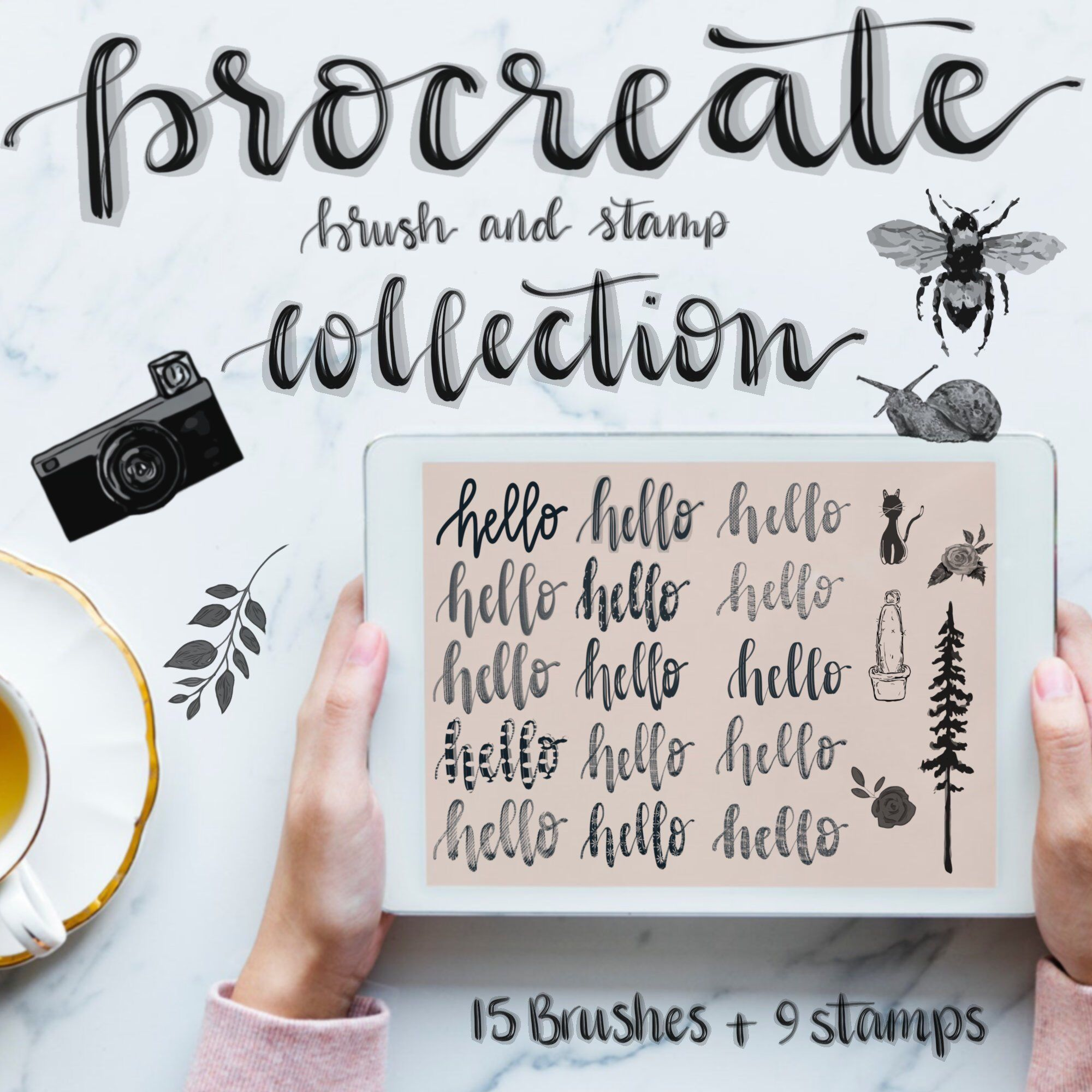 Procreate app brushes Ipad   digital calligraphy tools  | Etsy
