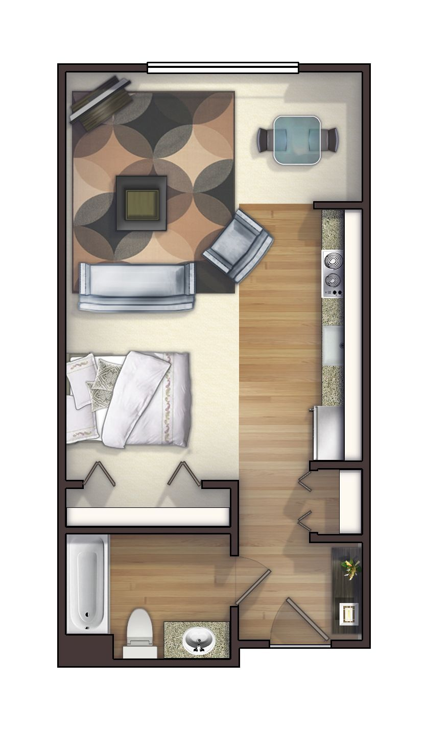 One of the many studio floor plans we offer. Rents for ...