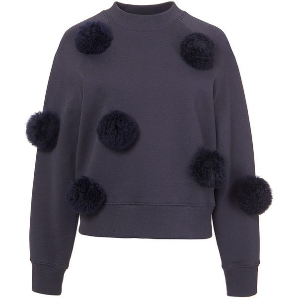Tibi Navy Cropped Pom Pom Sweatshirt 295 Liked On Polyvore