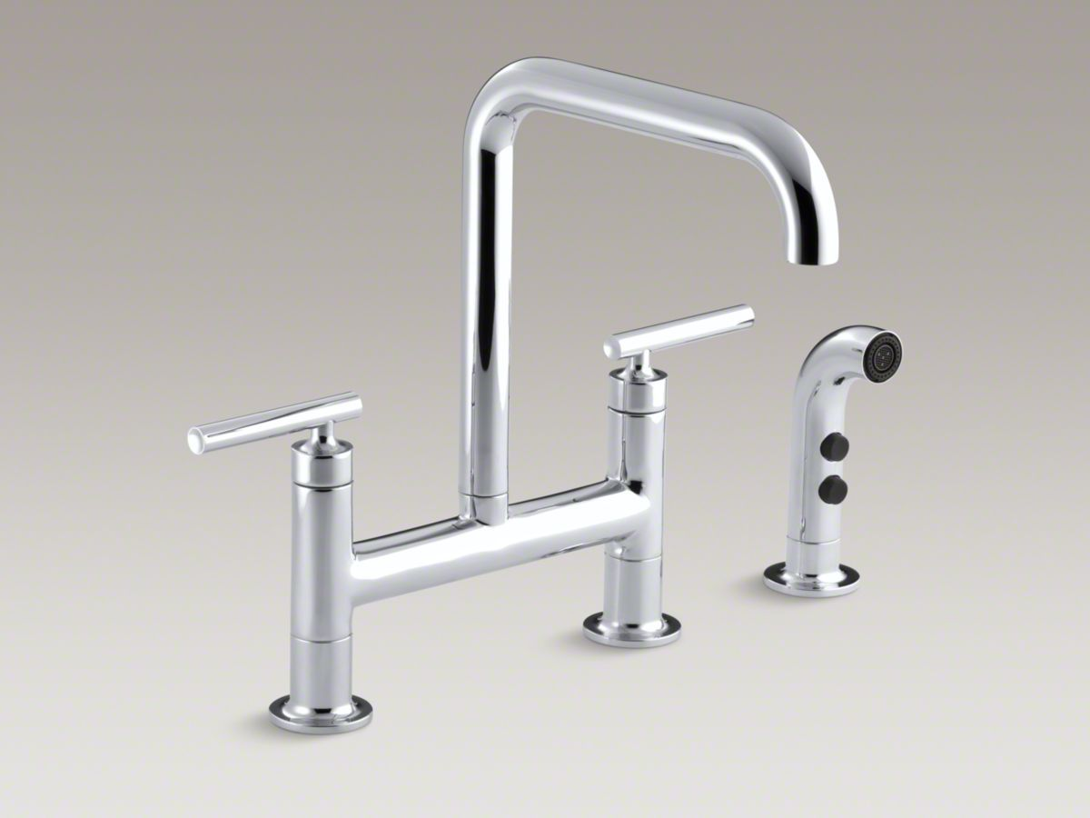 7 Faucet Finishes For Fabulous Bathrooms: Purist® Two-hole Deck-mount Bridge Bridge Kitchen