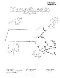 fun Massachusetts United States coloring page for kids   Teaching ...
