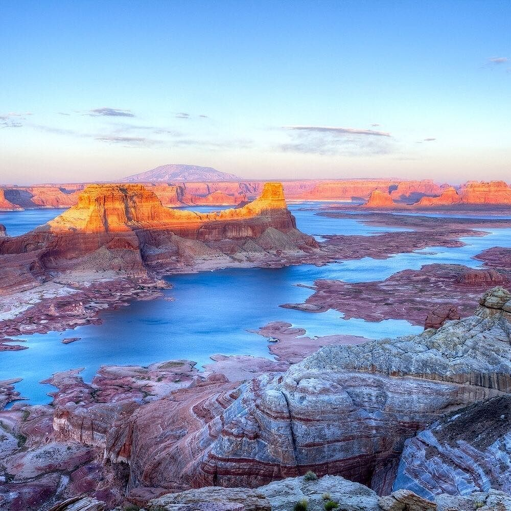 A golden sunset at Lake Powell the second largest manmade