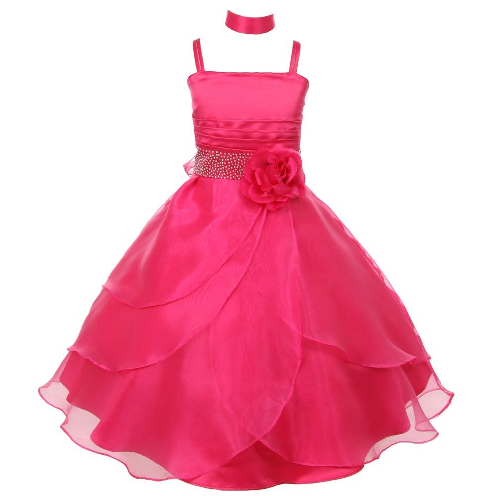 655a19acbfb Fanciful dress with floral adornment from Shanil Inc just for your little  lady. The fuchsia dress has spaghetti straps