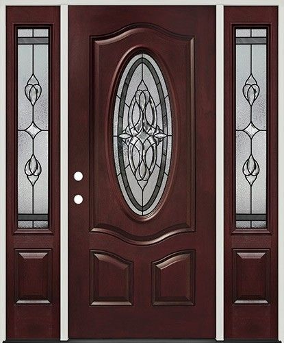 3/4 Oval Pre Finished Mahogany Fiberglass Prehung Door Unit With Sidelites  #16