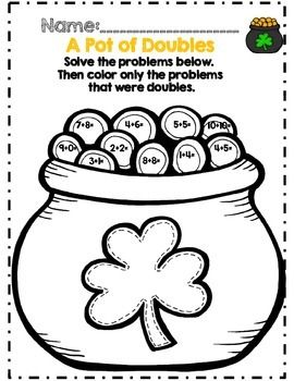 First Grade St. Patrick's Day Math Activity Set *Common