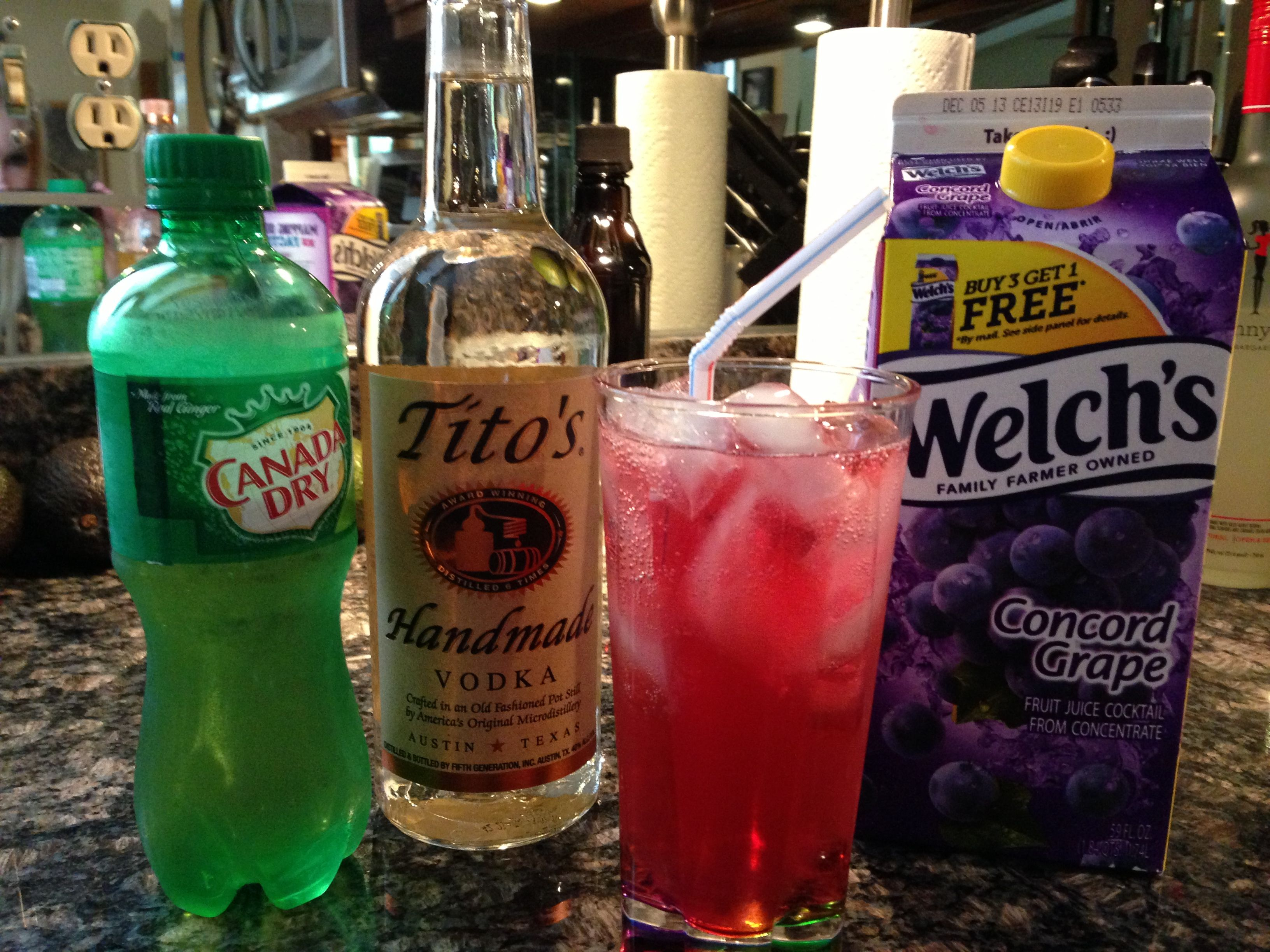 Transfusion Drink  Vodka, Ginger Ale, Grape Juice