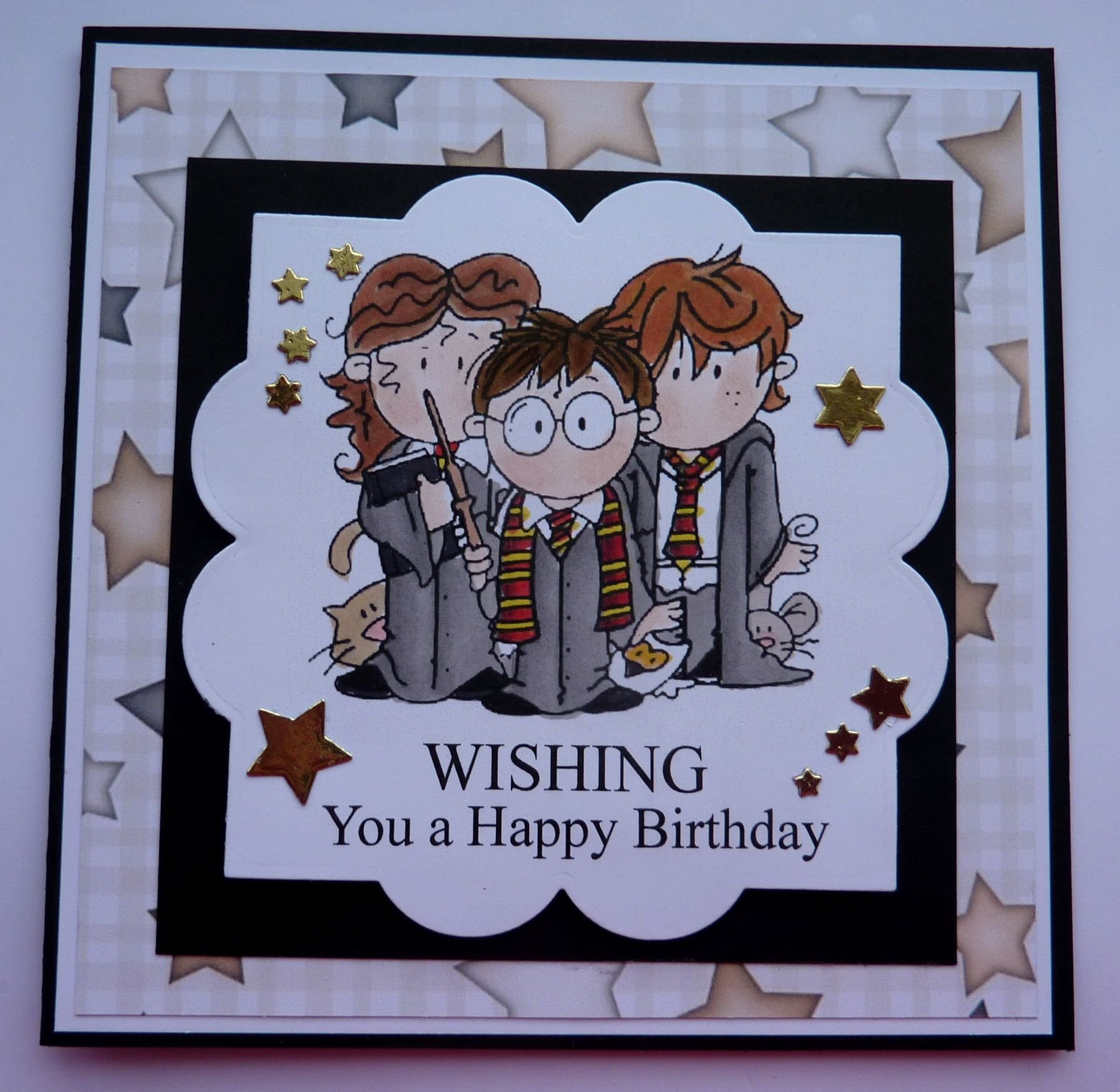 S300 Hand Made Birthday Card Using Harry Potter Digi Stamp Harry Potter Birthday Cards Harry Potter Cards Birthday Card Printable