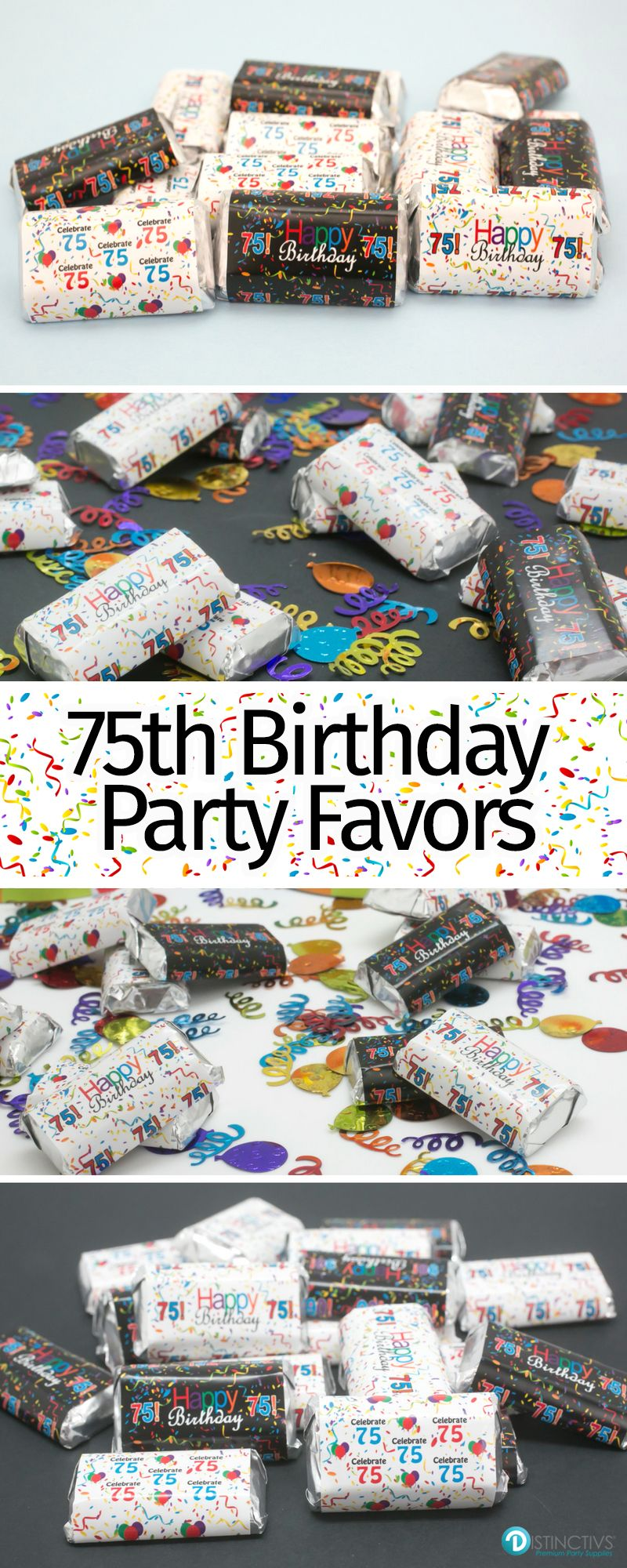 Make Your Own DIY Happy 75th Birthday Party Treats By Simply Peeling And Wrapping These Stickers On Hersheys Miniatures Perfect For Favors Decorations