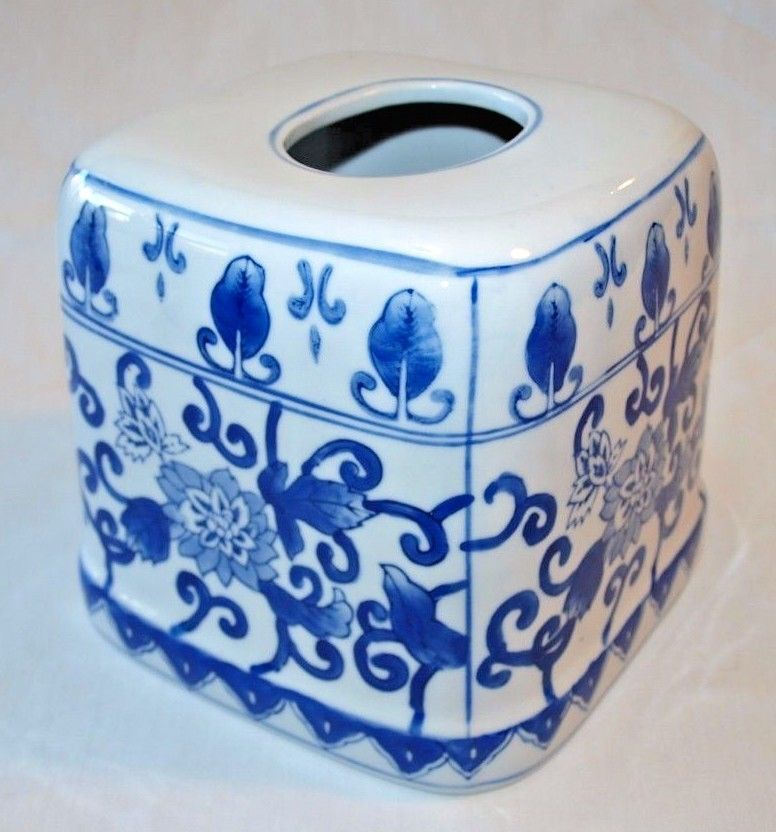 Lillian Vernon Blue White Porcelain Kleenex Box Cover