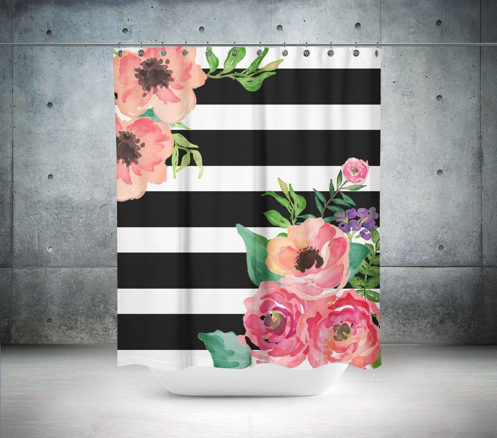 give your bathroom a burst of color with this floral camilla  - black  white stripes floral shower curtain