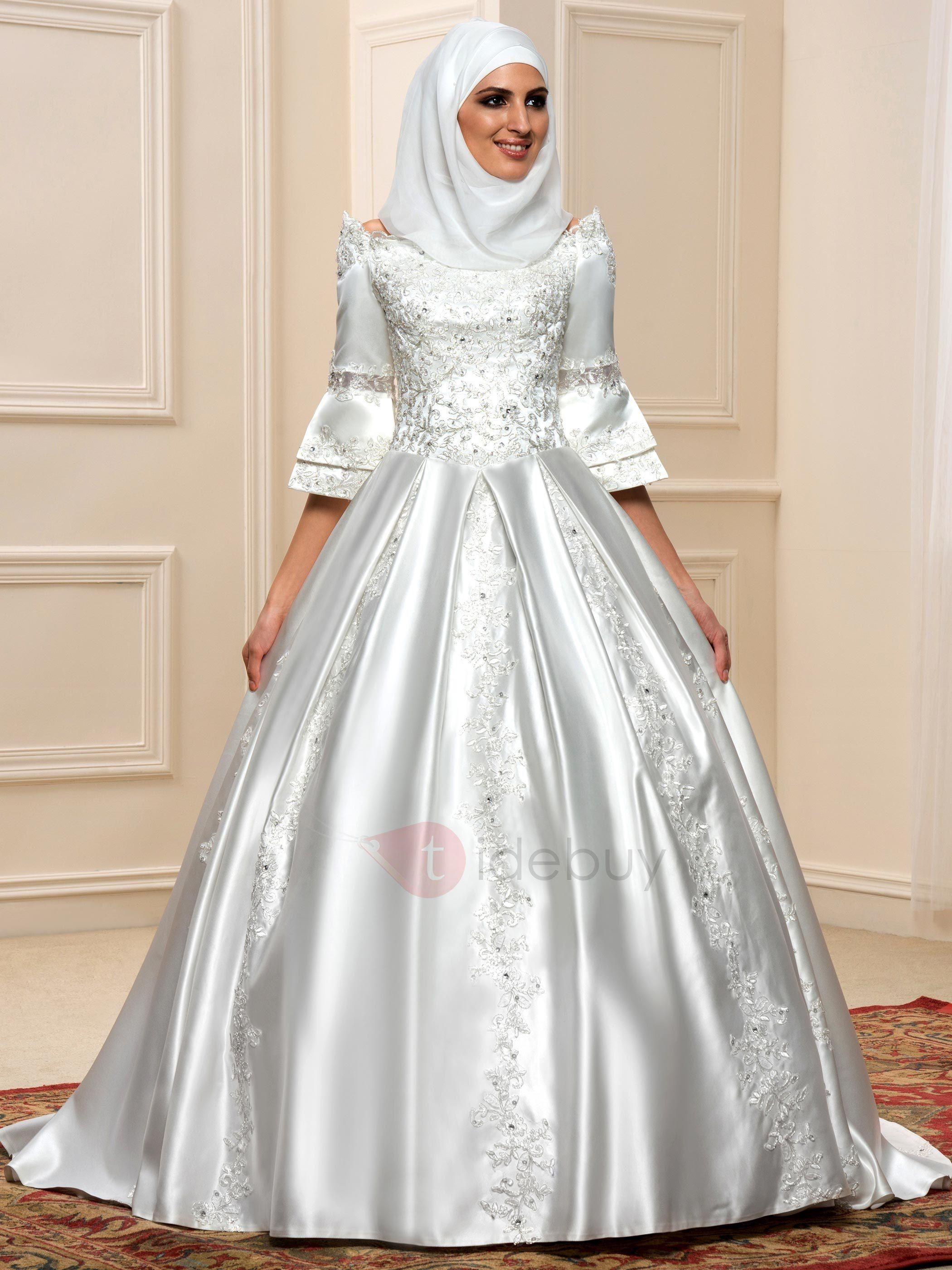 3 4 sleeve lace wedding dress  Sequined Lace  Sleeves Lace Up Arabic Wedding Dress  VINTAGE